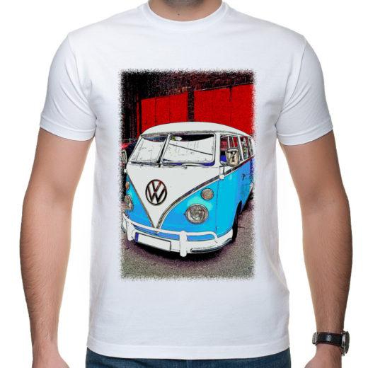 VW Bulli Ogórek - cartoon - koszulka męska z nadrukiem