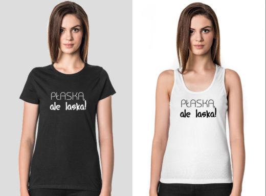 Płaska, ale laska! koszulki z nadrukiem dla kobiet