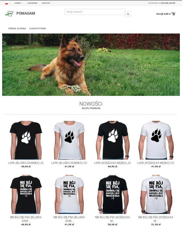 Sklep charytatywny POMAGAM - koszulki i gadżety na cele dobroczynne