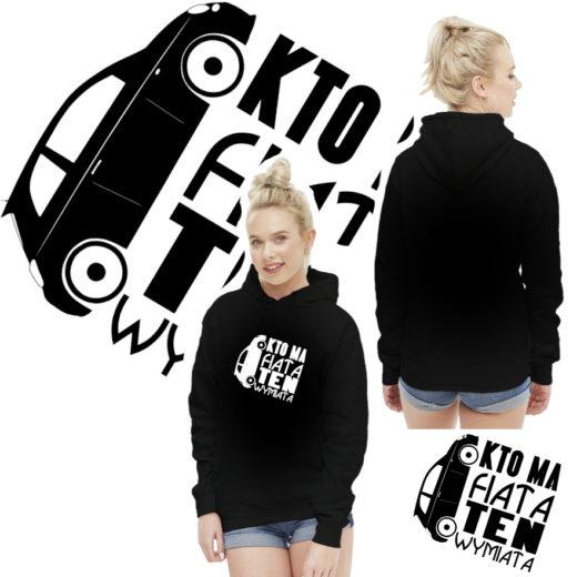 Fiat 500 Kto ma Fiata ten wymiata - Bluza Damska Czarna z nadrukiem