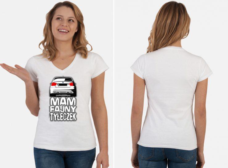 Koszulka zaczepna Mam fajny tyłeczek - BMW E90 - produkt z nadrukiem