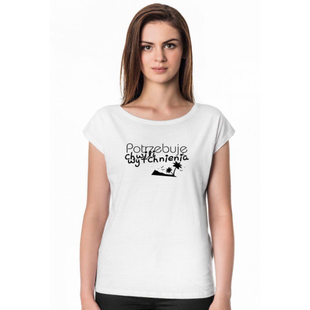 Potrzebuję Chwili Wytchnienia - koszulka damska oversize z nadrukiem