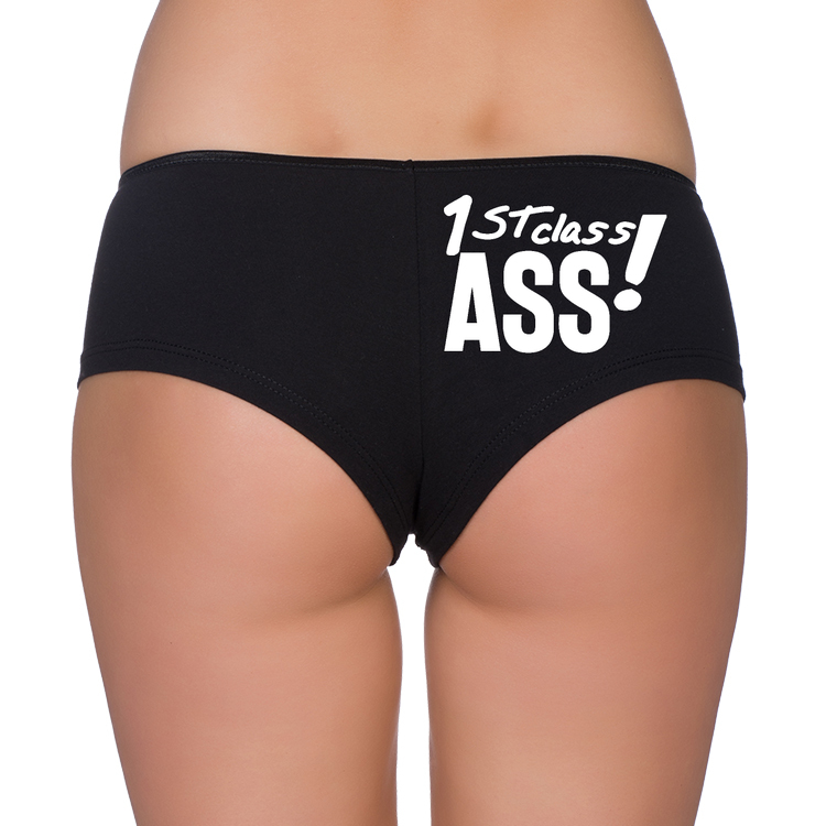 Bielizna damska, majtki bokserki z nadrukiem 1st class ass