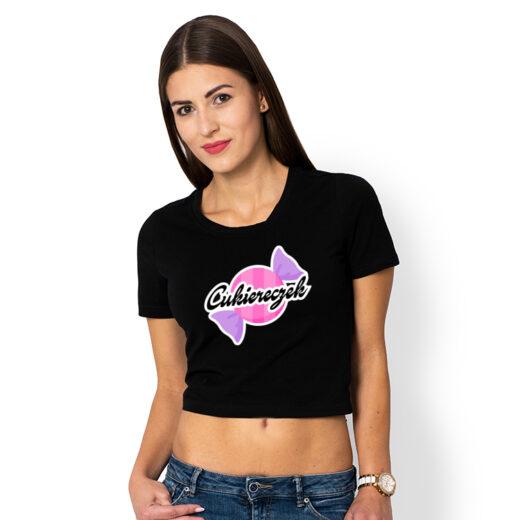 Cukiereczek - koszulka damska cropped z nadrukiem
