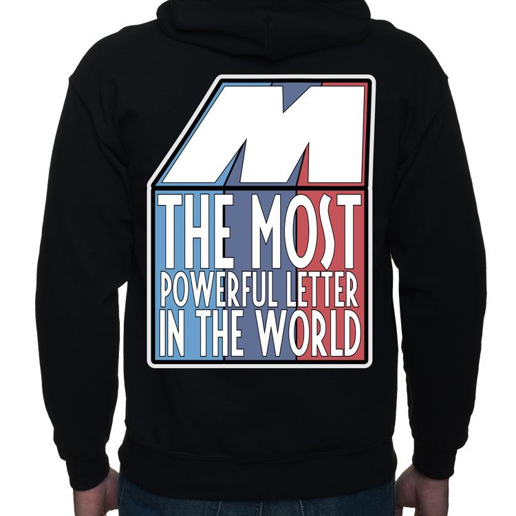 M - the most powerful letter in the world - bluza męska kapturowa rozpinana z nadrukiem BMW M POWER