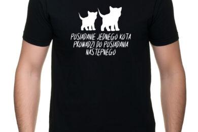 Posiadanie kota - charytatywna koszulka męska z nadrukiem - Sklep internetowy POMAGAM